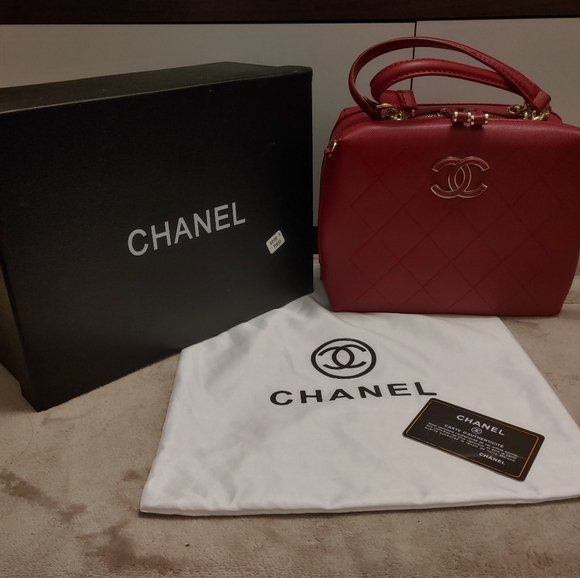 Chanel style red quilted handbag crossbody